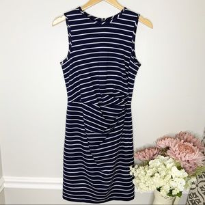1901 Navy  Striped Sleeveless body dress